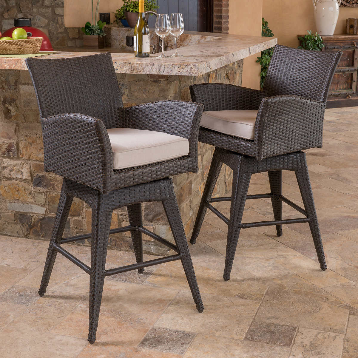 Outdoor bar table and stools - Santa Fe 2 Piece Barstool Set By Mission Hills