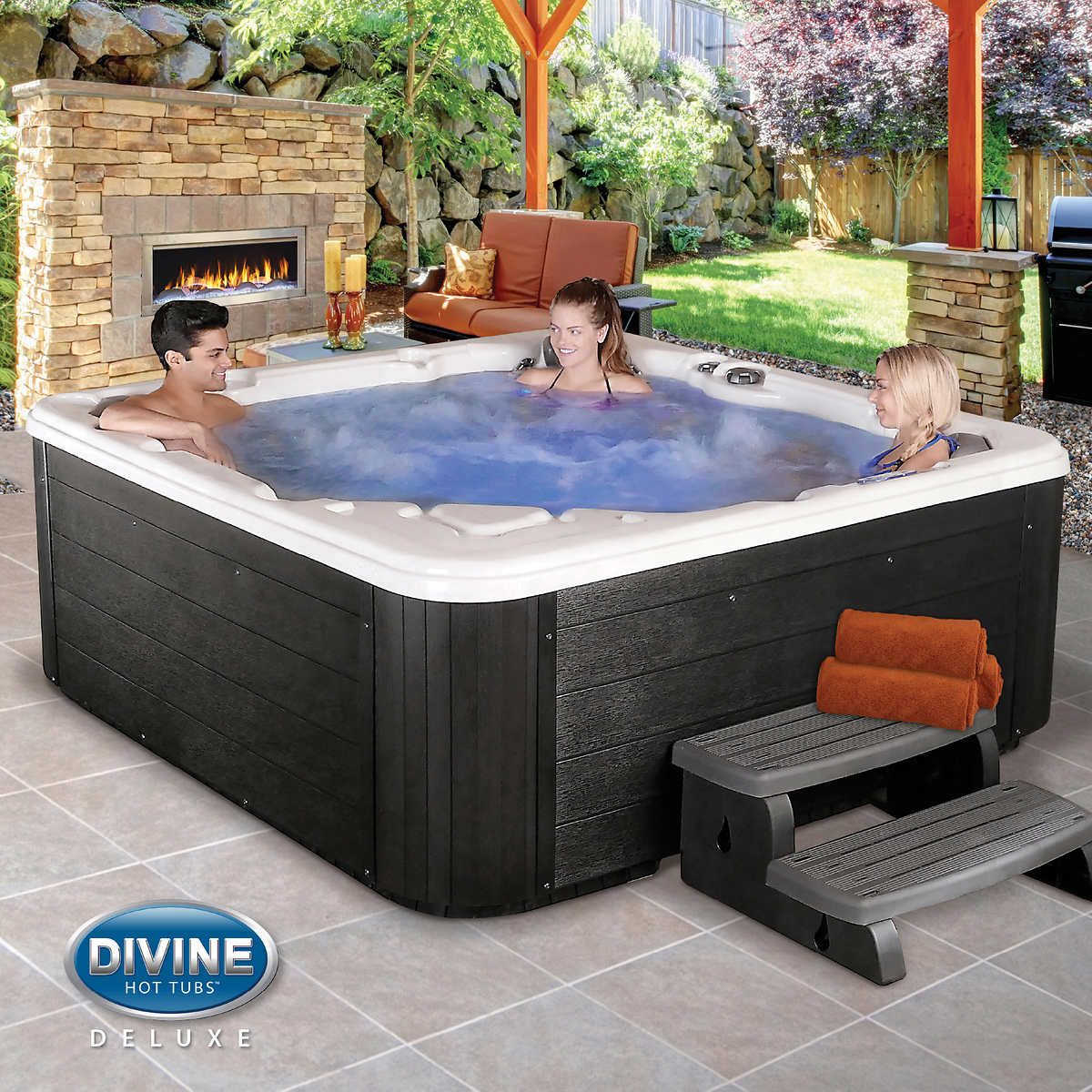 tub jacuzzi person wooden whirlpool hot wood pin tubs outdoor