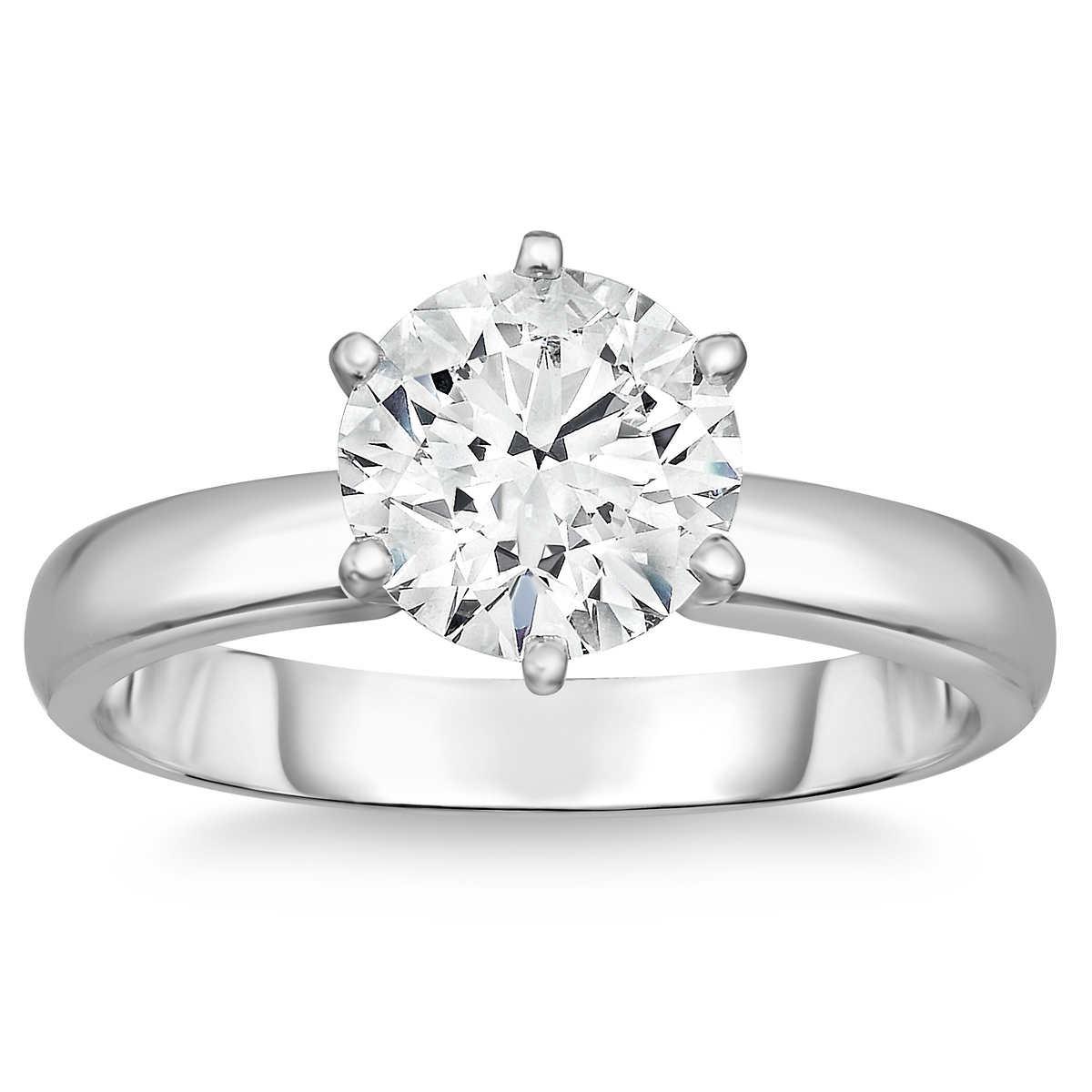 Round Brilliant 303 Ct Vvs2 Clarity, F Color Diamond Platinum Solitaire  Ring