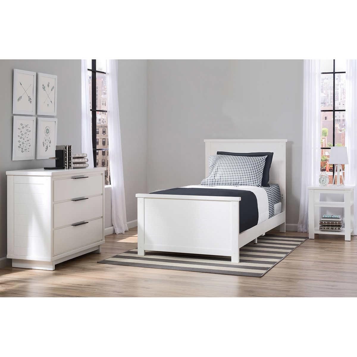 Cortland 3 Piece Twin Bedroom Set White