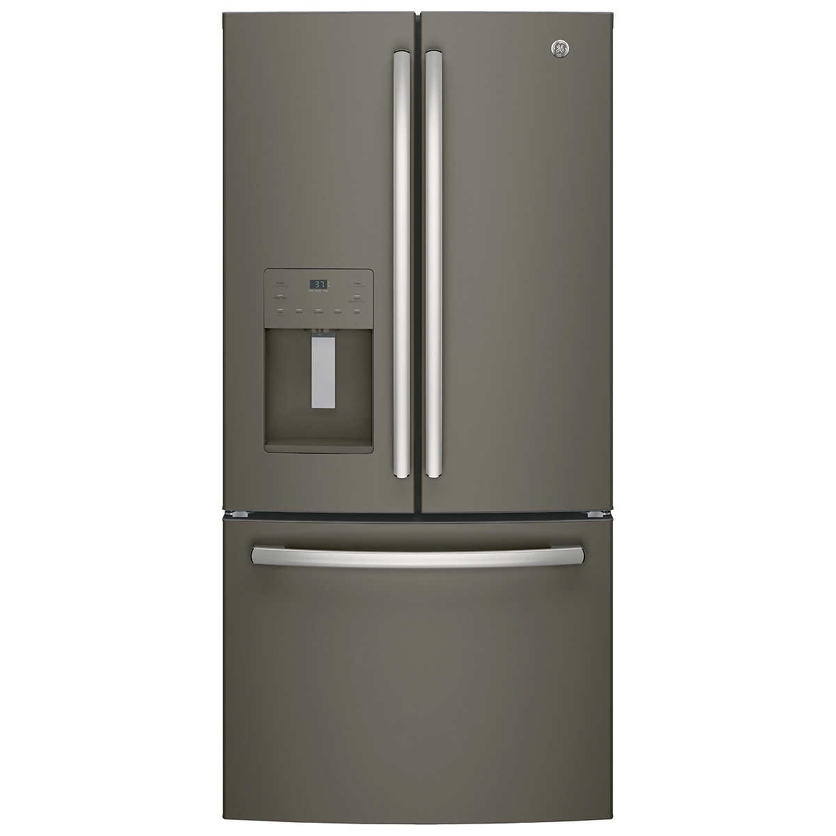 Ge 30 inch side by side white refrigerator - Ge 23 8 Cuft 33 Inch Wide 3 Door French Door Refrigerator In Slate