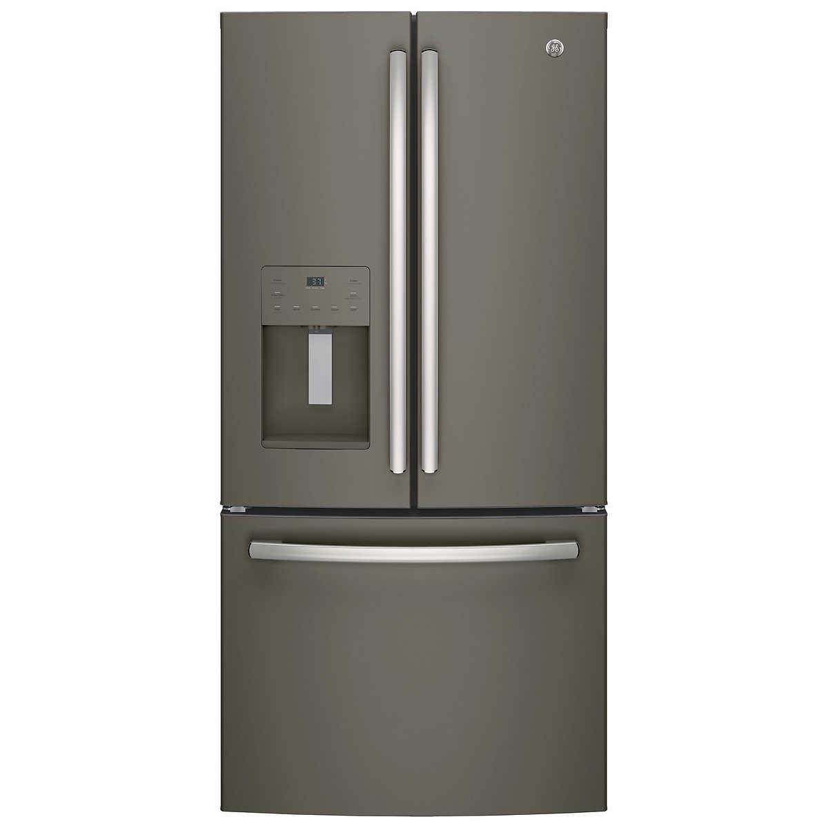 Ge 30 inch side by side white refrigerator - Ge 23 8 Cuft 33 Inch Wide 3 Door French Door Refrigerator In Slate