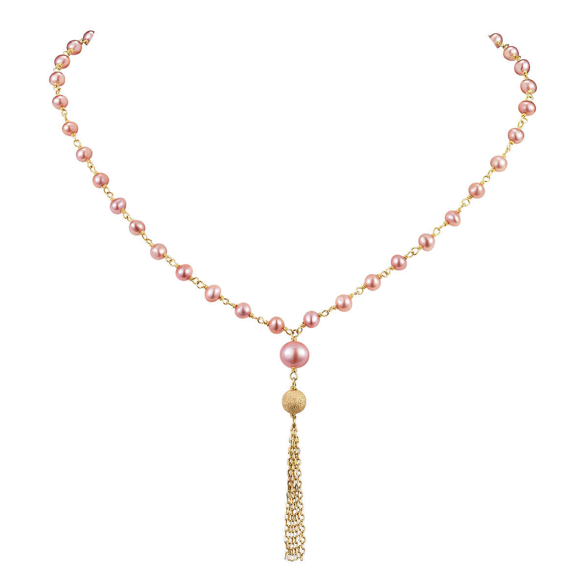 Freshwater 357mm Pink Pearl 14kt Yellow Gold Necklace
