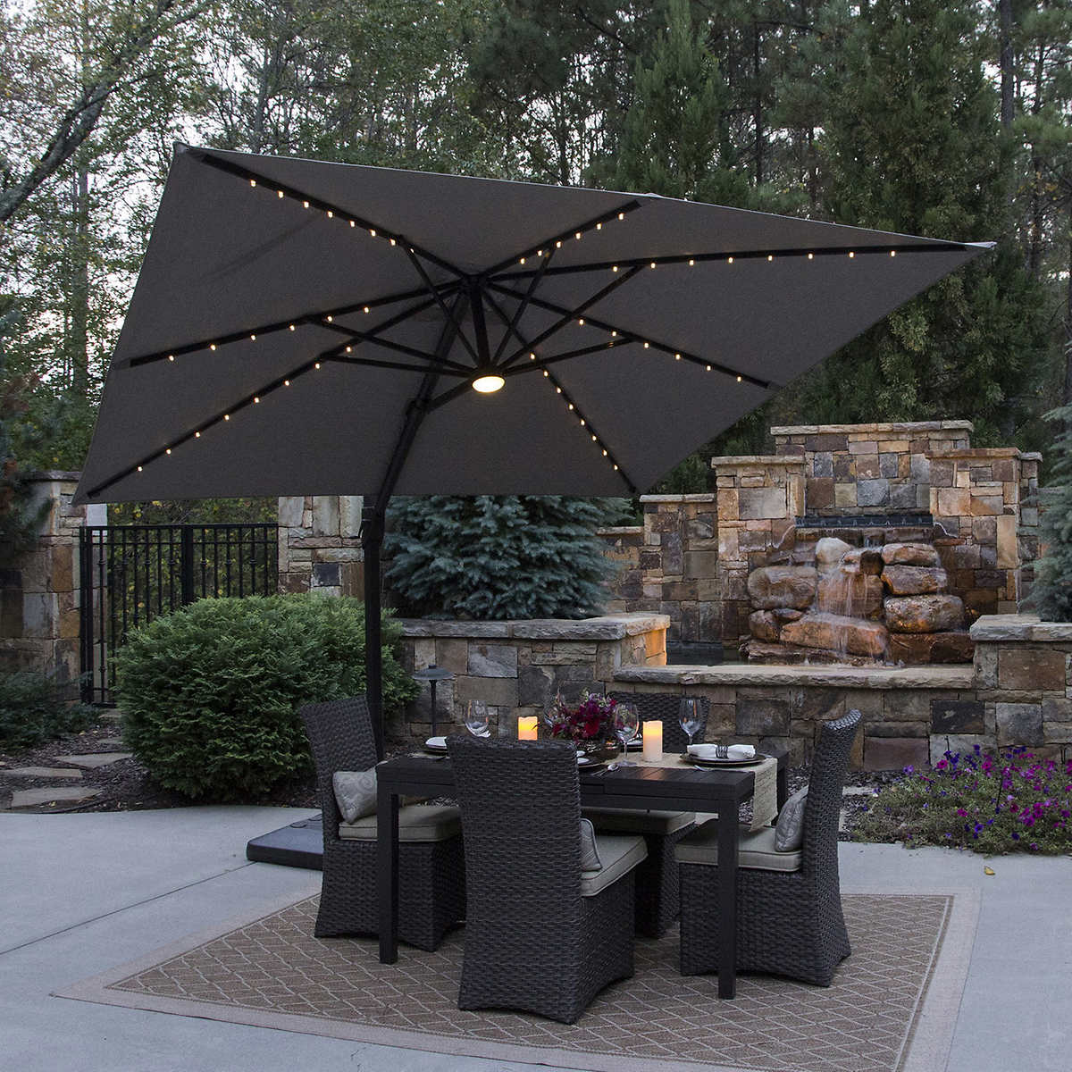 hanging free sun costway product solar market patio shipping overstock beige shade base umbrella led garden home w offset today