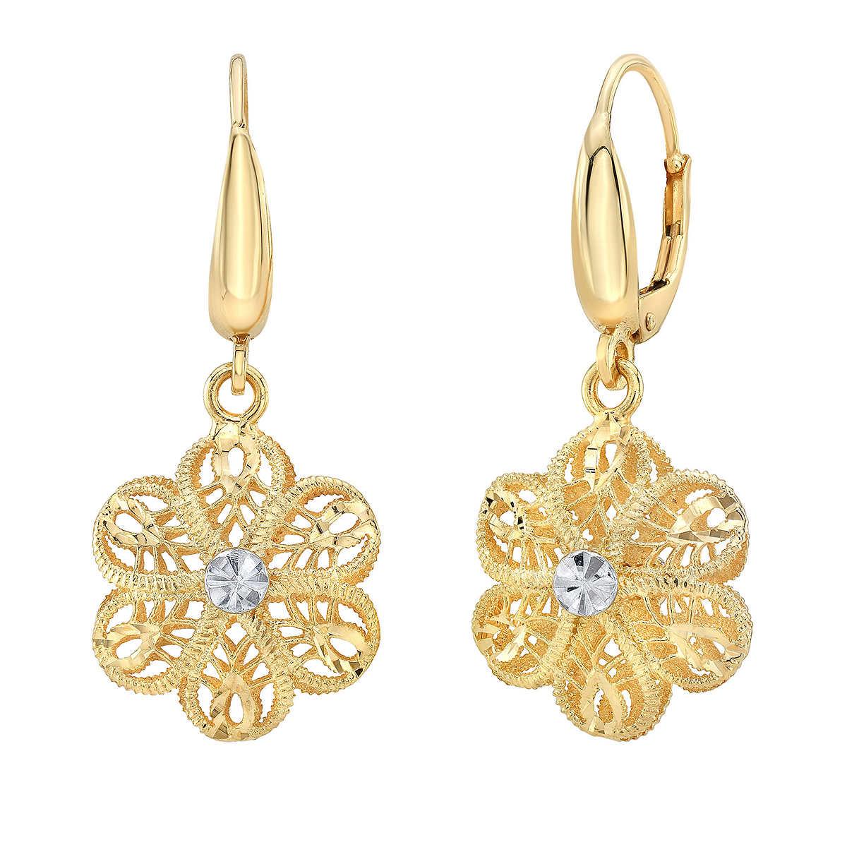Gold Flower Dangle Earrings Item 1154653 1