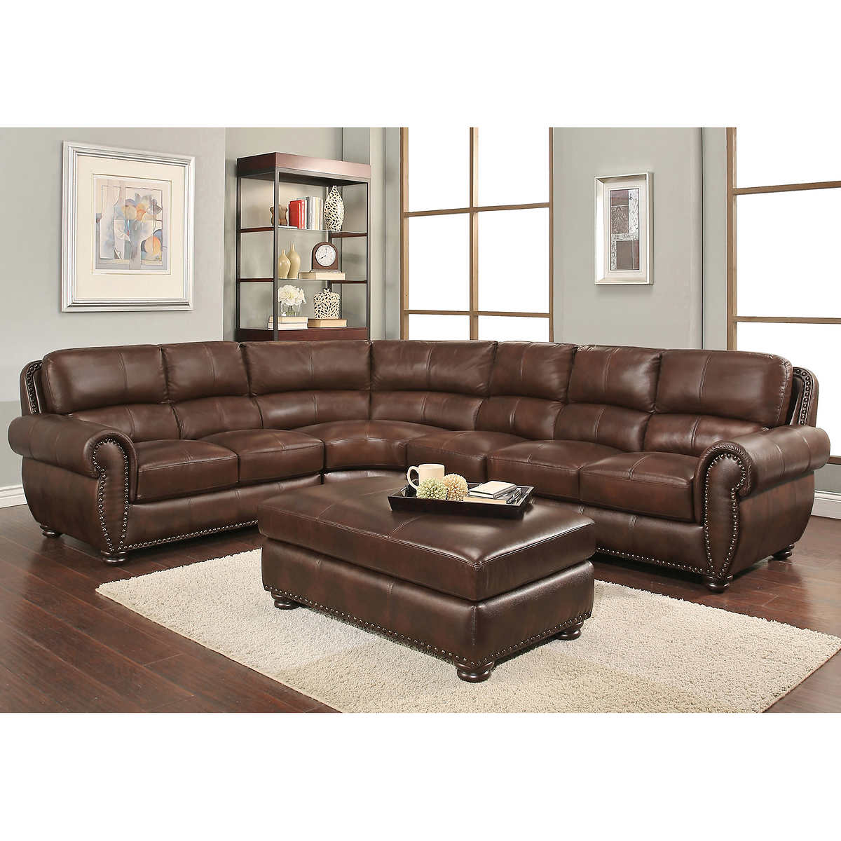 Austin Top Grain Leather Sectional With Ottoman - Leather Sofas & Sectionals Costco