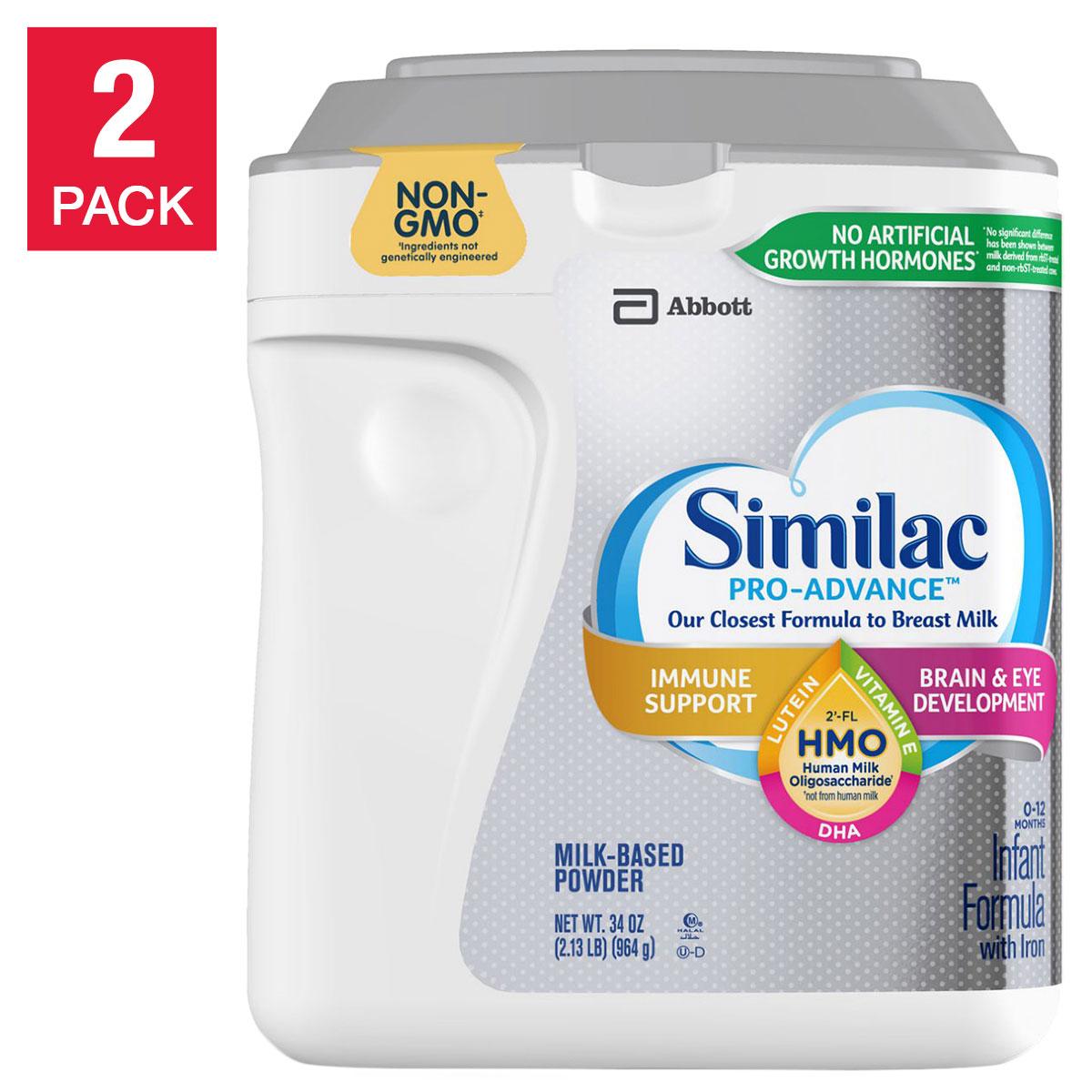 Similac Pro-Advance HMO Infant Formula 34 oz, 2-count