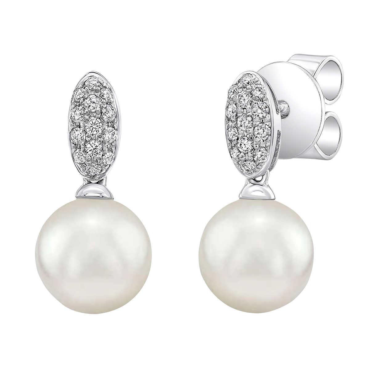 Akoya 657mm Pearl & Diamond 14kt White Gold Earrings