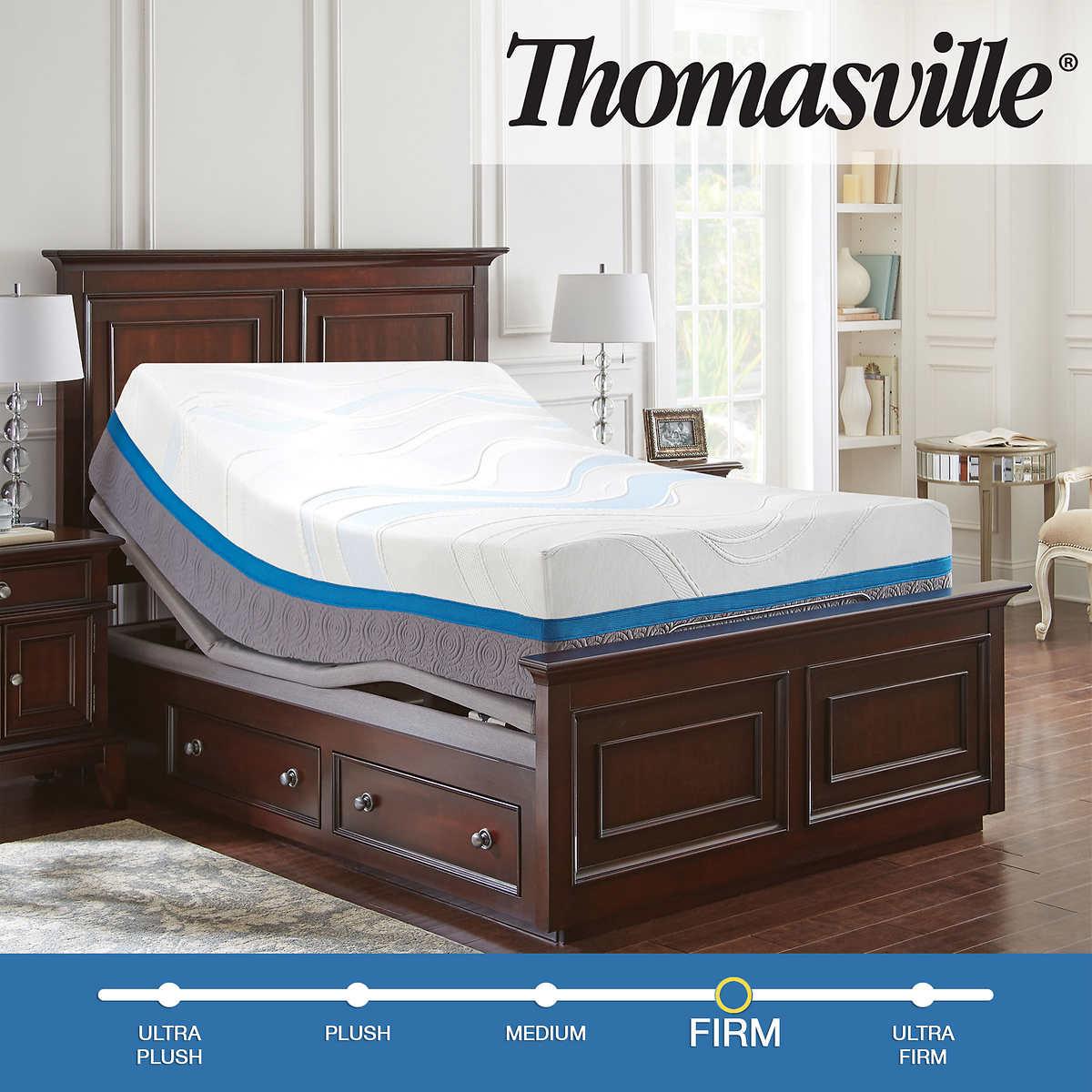 "Thomasville Precision Gel 14"" Memory Foam Queen Mattress with Adjustable  Base"
