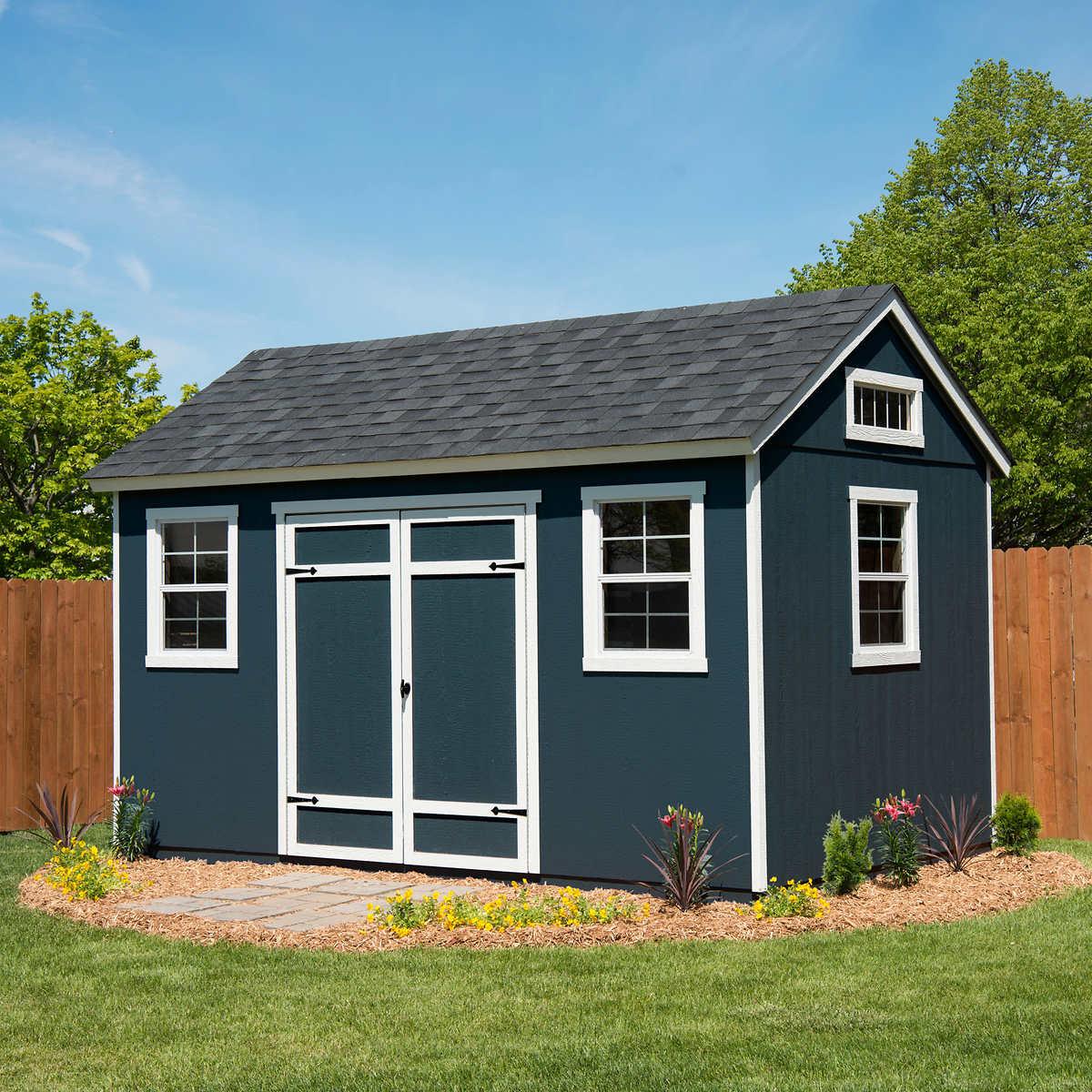 Berkdale 14 39 x 8 39 wood shed 918 cubic feet floor kit for Best deals on garden sheds