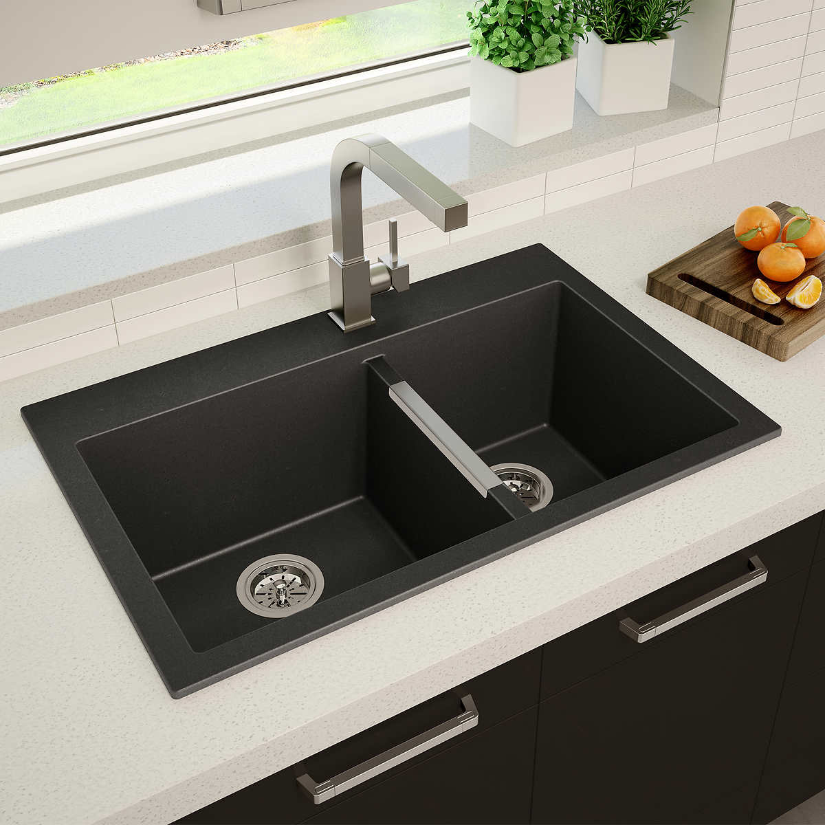 Artika 60/40 Double Bowl Black Granite Sink