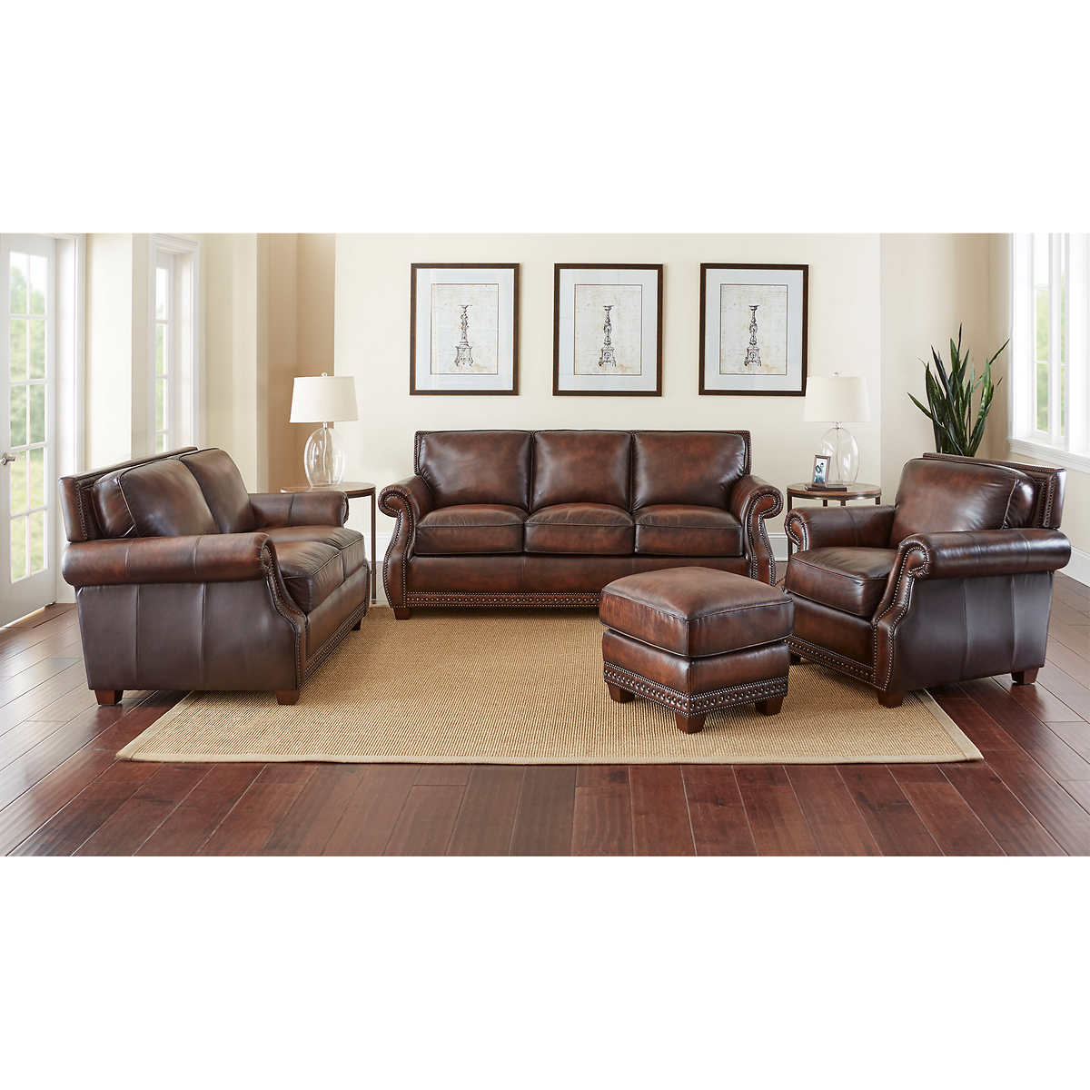 Leather Sofas   Sectionals   Costco Cameron Park 4 piece Top Grain Leather Set. Costco Living Room. Home Design Ideas