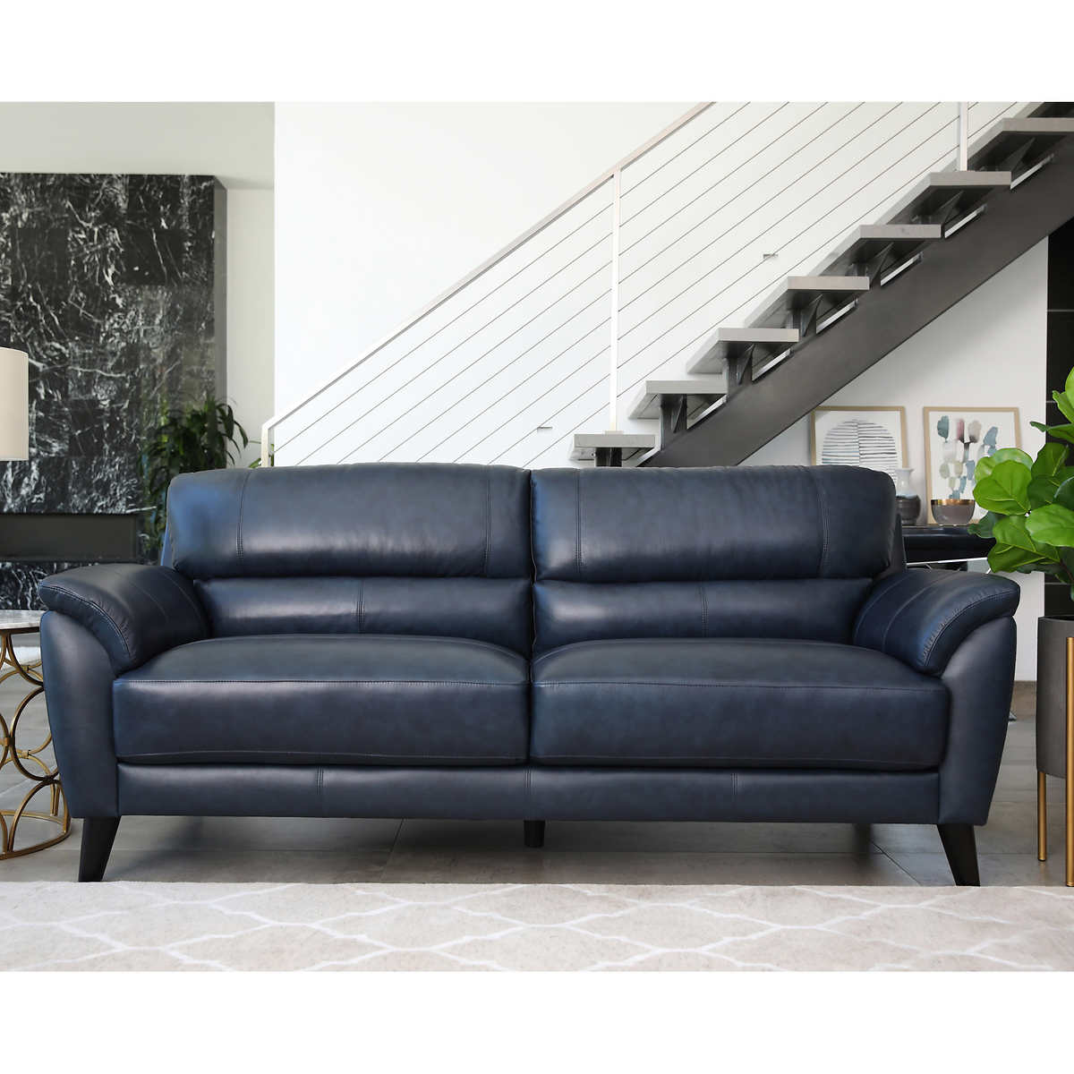 Gray leather living room furniture - Sovana Top Grain Leather Sofa