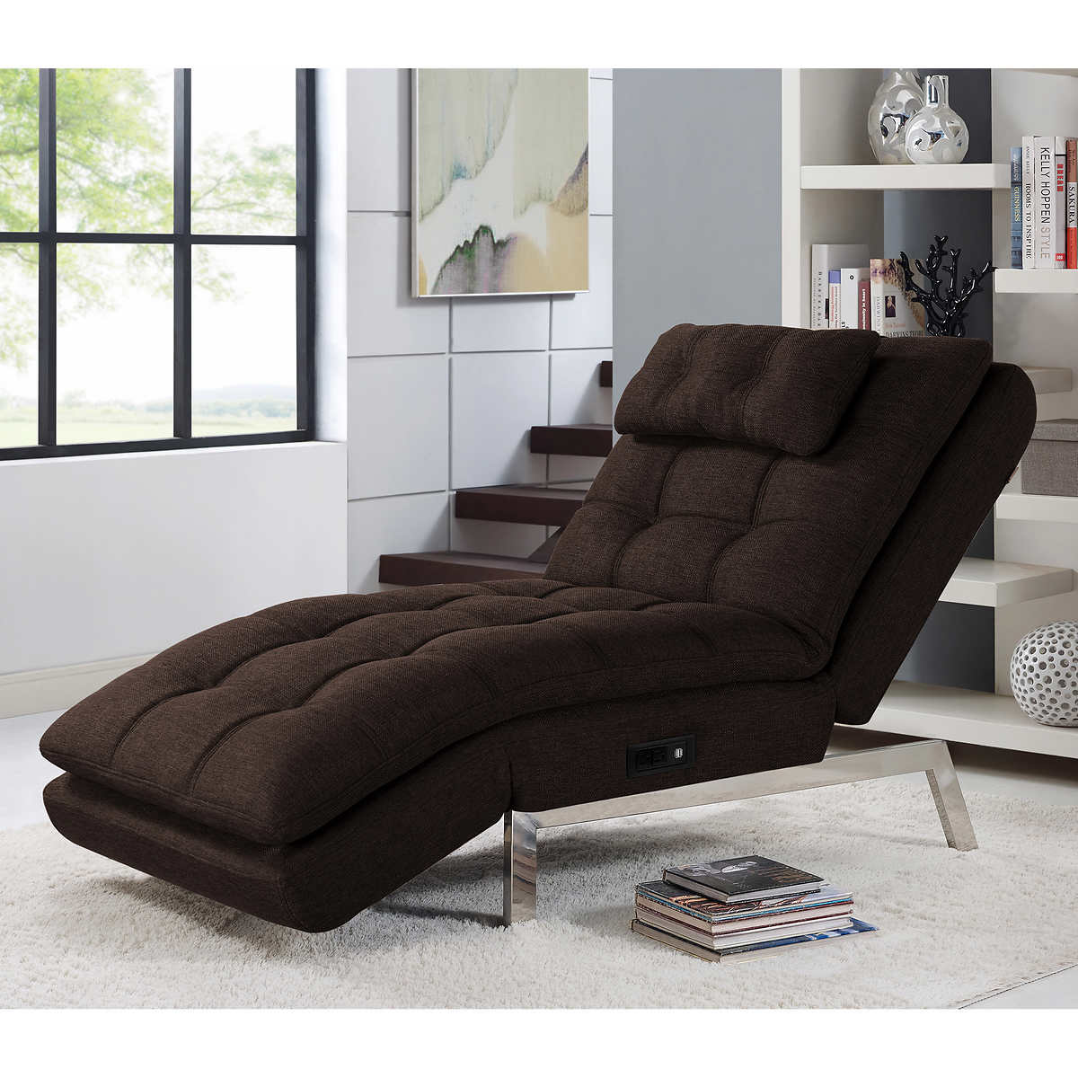 Wave chaise bed price - Macey Fabric Chaise Lounger Brown
