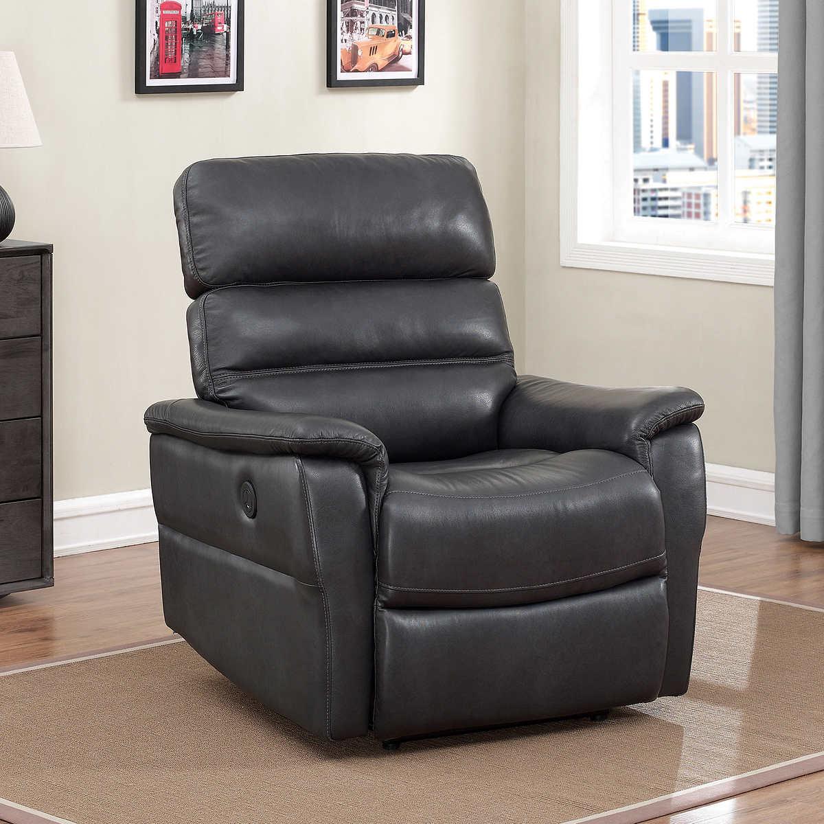 clifton top grain leather power recliner charcoal gray. Interior Design Ideas. Home Design Ideas