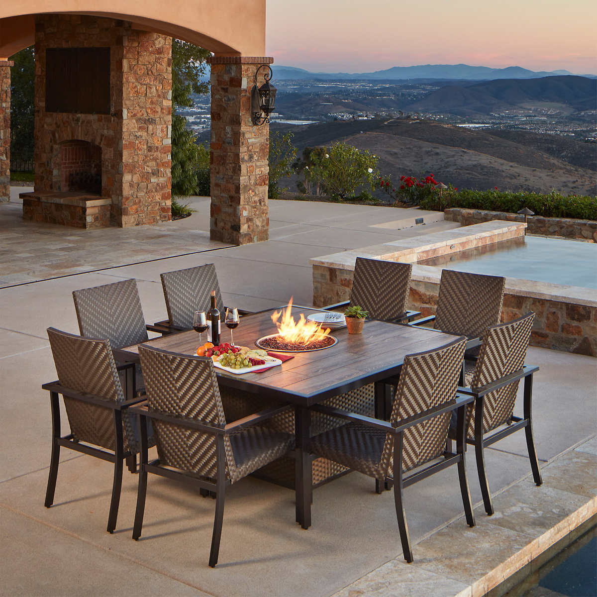 Madrid 9 Piece Fire Dining Set By Mission Hills