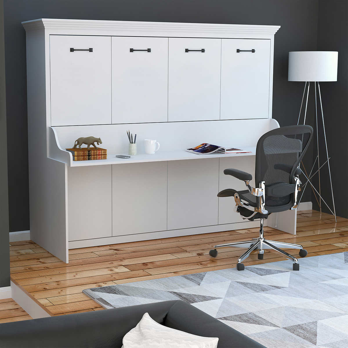 Melbourne queen wall bed w desk combo white click to zoom amipublicfo Gallery