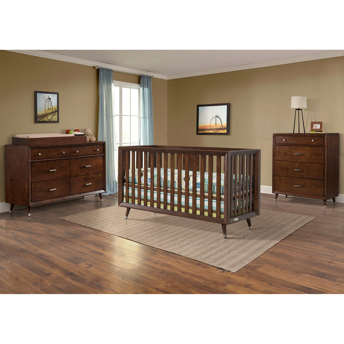 White plastic toddler bed costco - Tremont Euro Crib 4 Piece Nursery Collection Brown