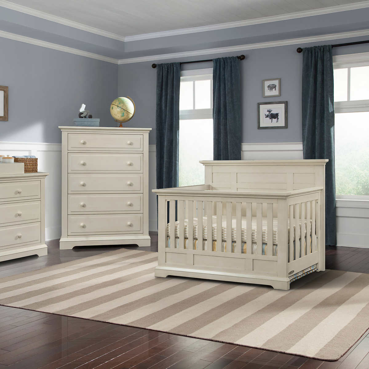 Addison Flat Top Crib 3 Piece Nursery Collection Vintage Linen