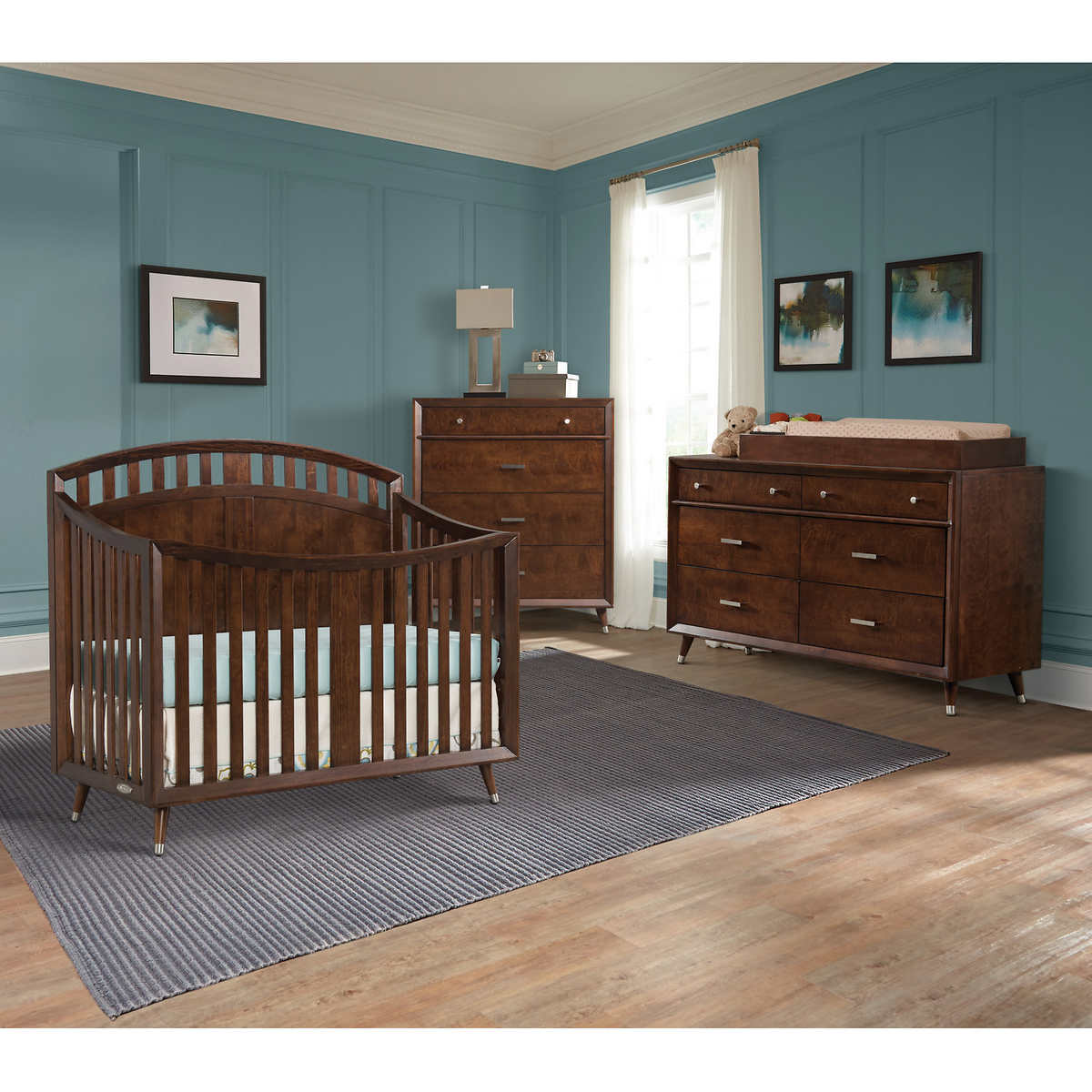 White plastic toddler bed costco - Tremont Arch Top Crib 3 Piece Nursery Collection Brown