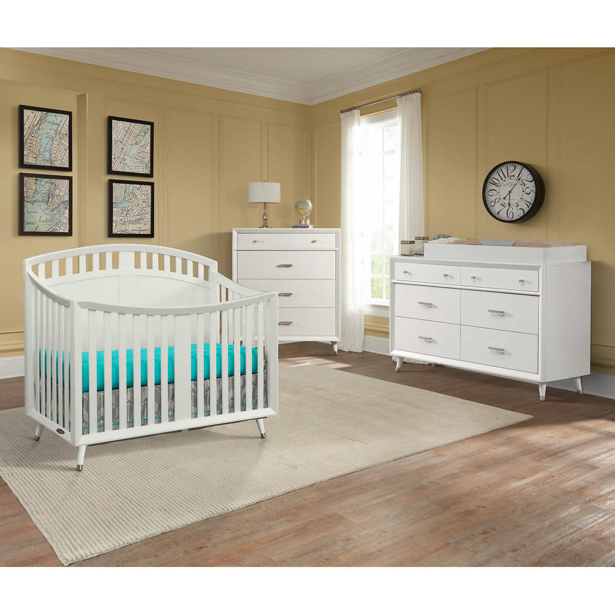 White plastic toddler bed costco - Tremont Arch Top Crib 3 Piece Nursery Collection White