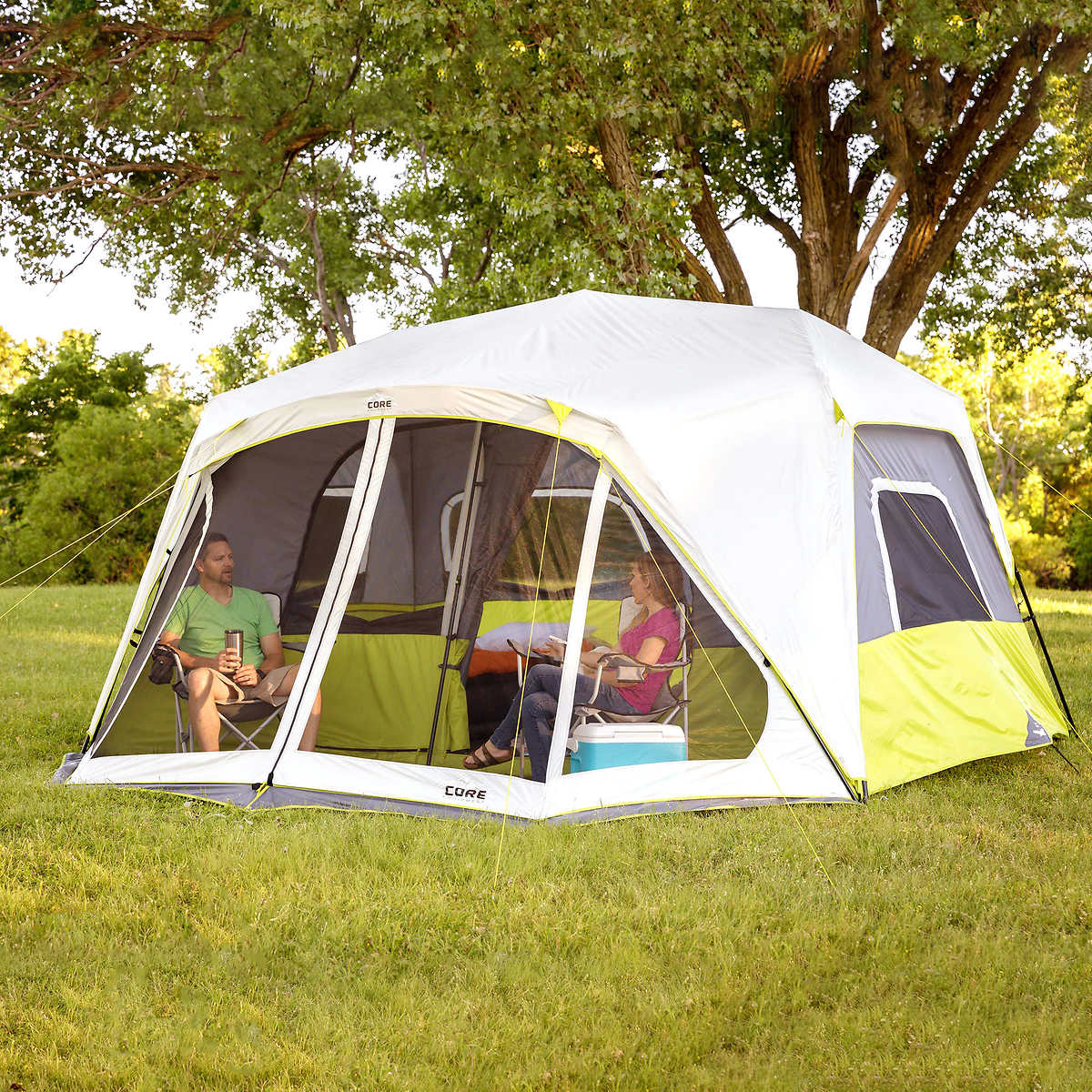 Ozark trail cabin tent with screen room 14x12 instructions for Tent cottage