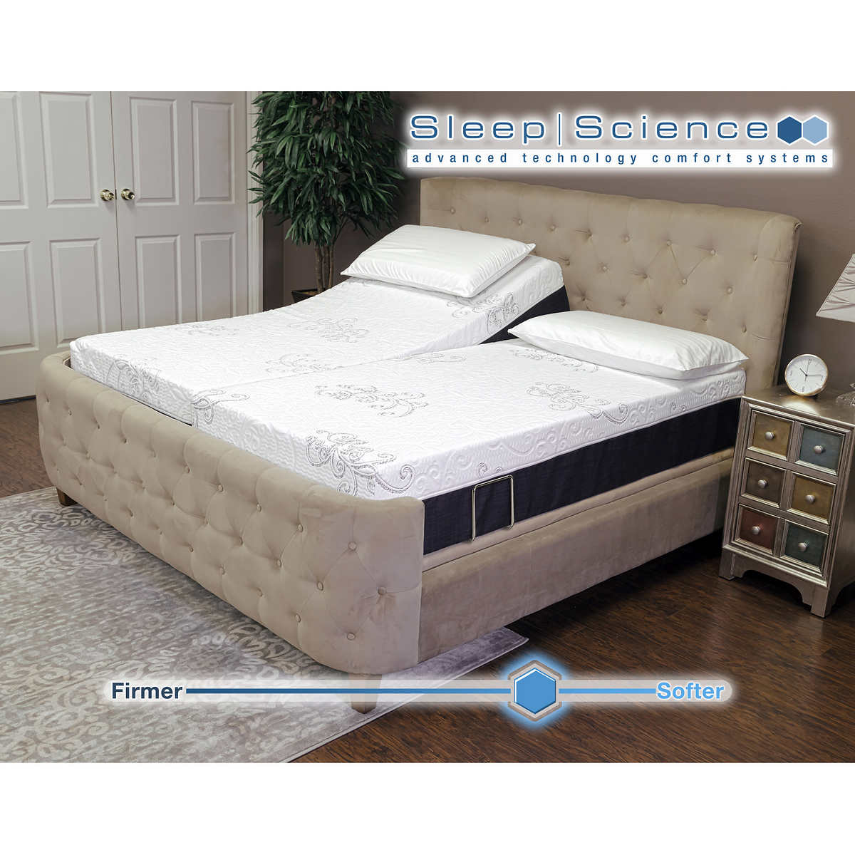 "Sleep Science 12"" Active Loft Split King Plush Memory Foam Mattress with  Adjustable Power Base. Item #1181120. Click to Zoom"
