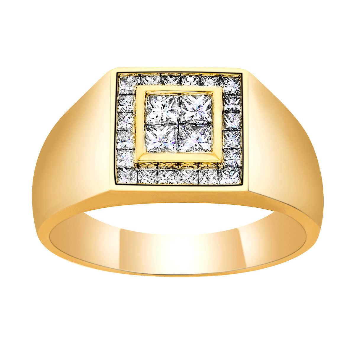 princess cut 095 ctw vs2 clarity i color diamond 14kt yellow gold mens ring