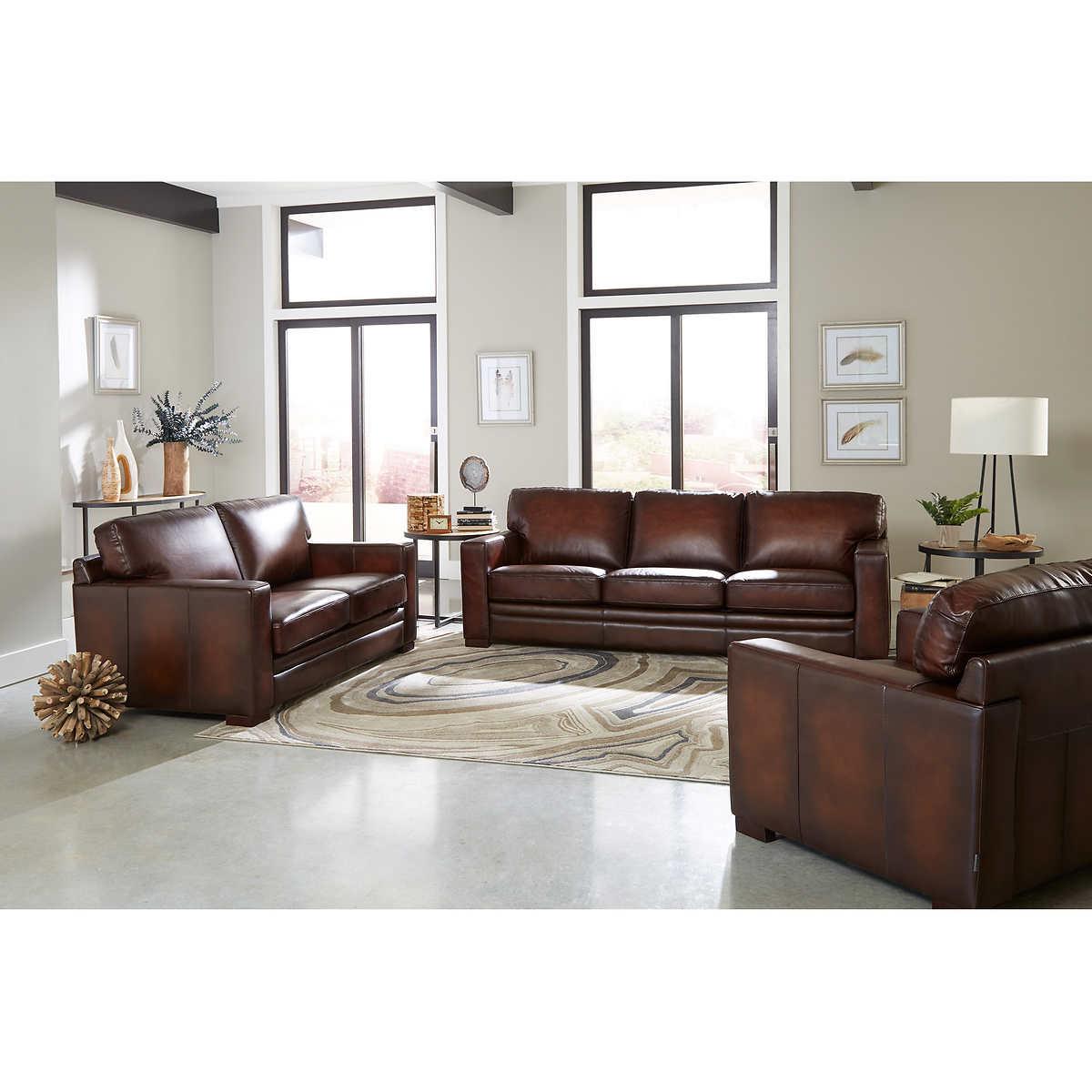 Luca 2 Piece Top Grain Leather Set Sofa Loveseat