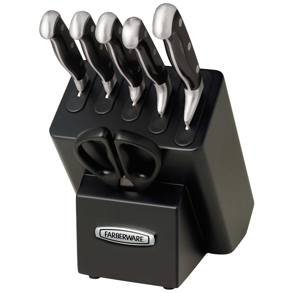 farberware 7 piece self sharpening japanese stainless steel knife block set ebay. Black Bedroom Furniture Sets. Home Design Ideas