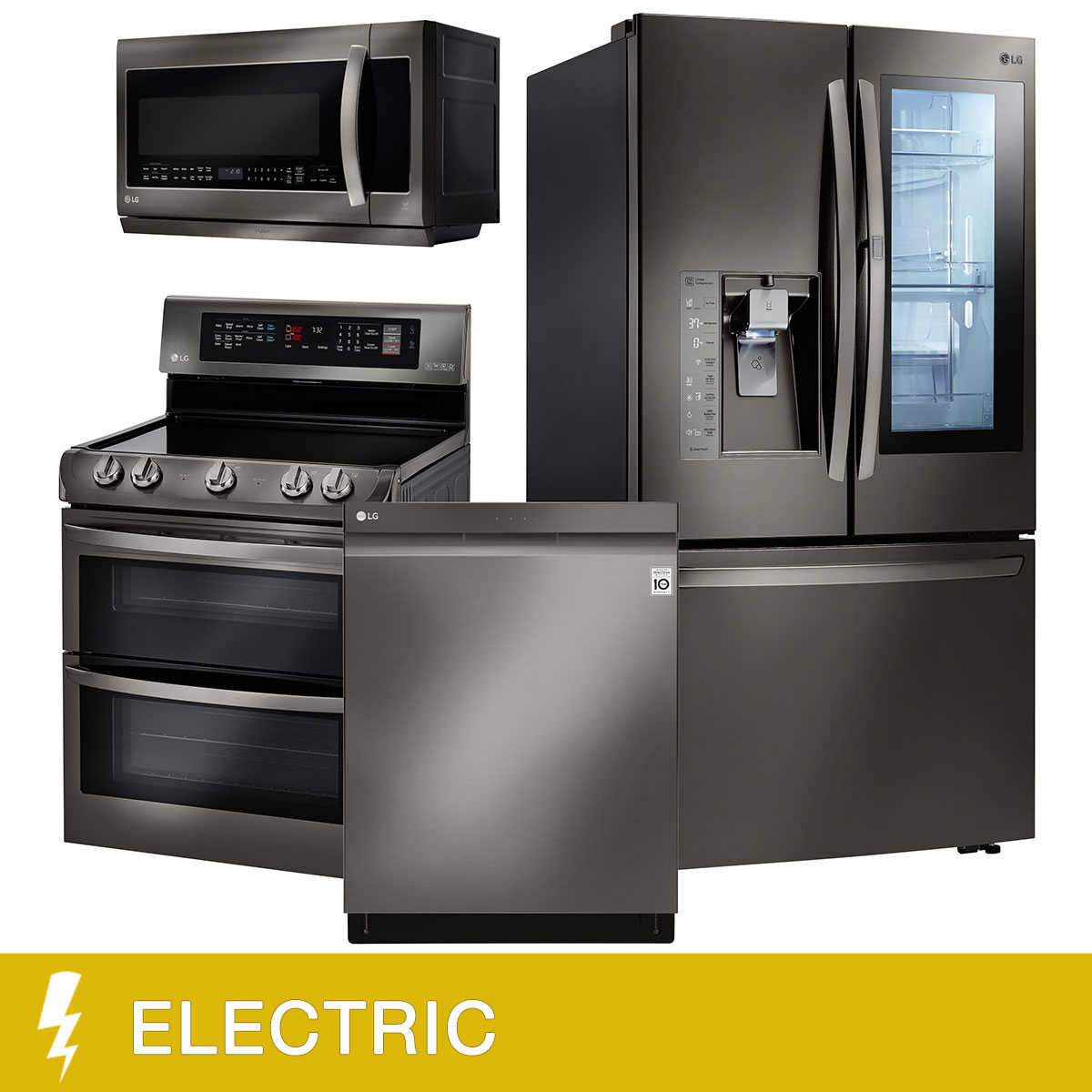 LG 4-Piece ELECTRIC 30CuFt InstaView Door-in-Door Kitchen Suite in ...