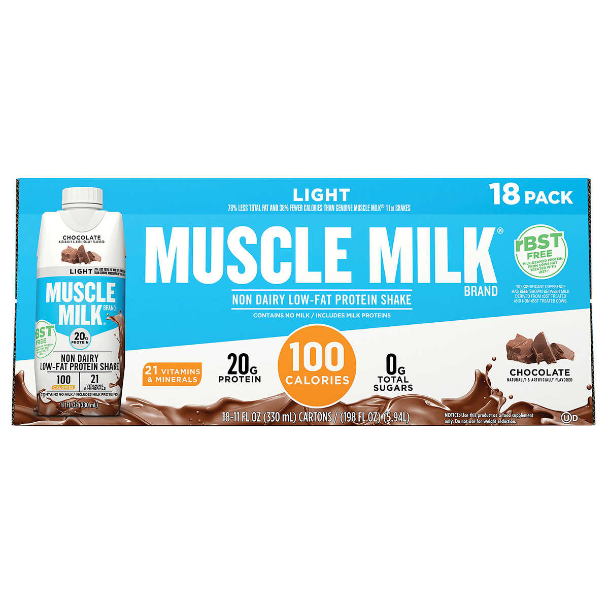 Muscle Milk Light rBST Free Chocolate Protein Shakes 18-pack, 11 fl oz