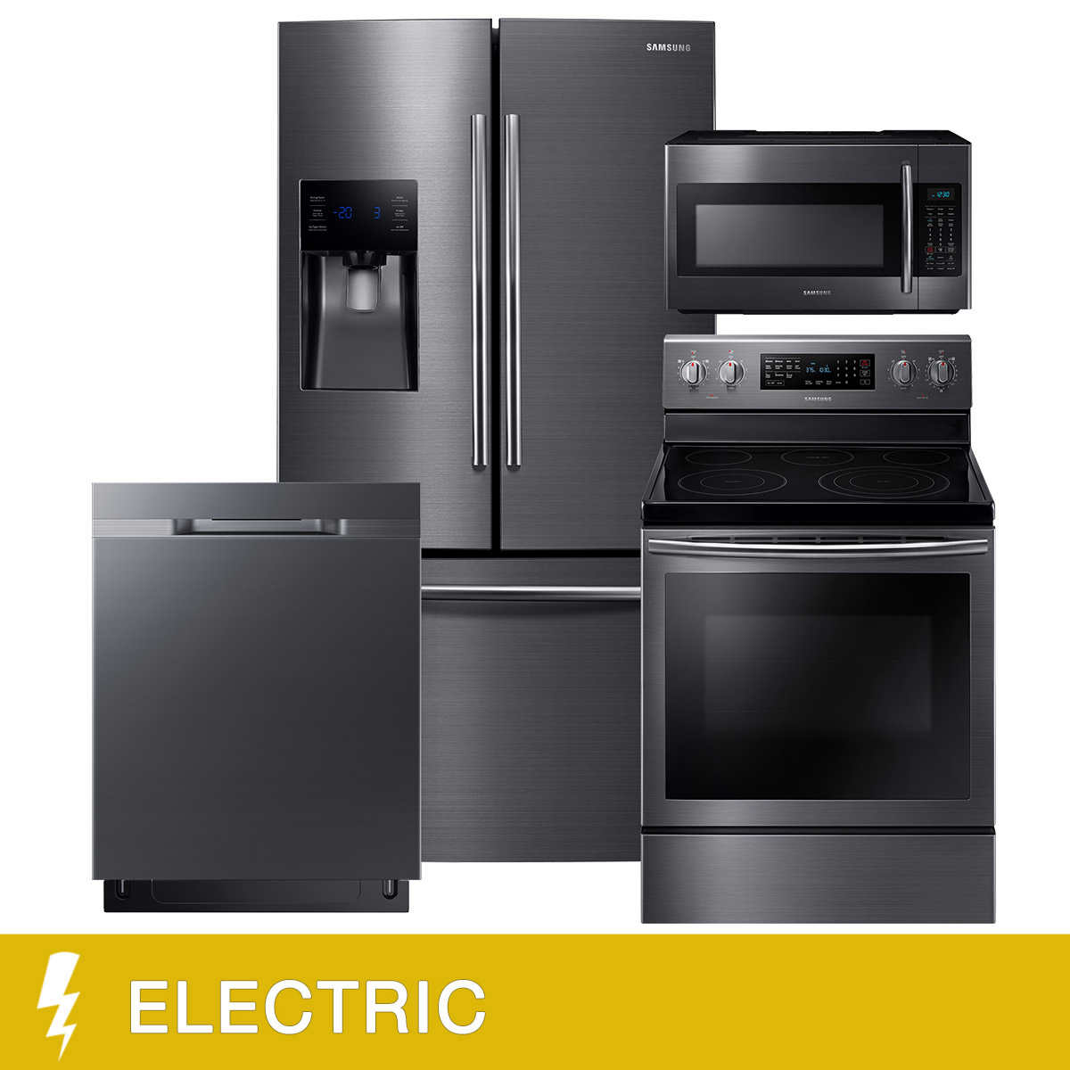 Samsung 4-Piece ELECTRIC 25CuFt 3-Door French Door Kitchen Package ...