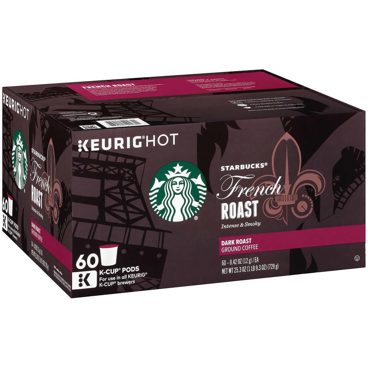 7ed6c8f3f54 ... Starbucks French Roast Coffee, Dark, 60 K-Cup Pods. 1 1