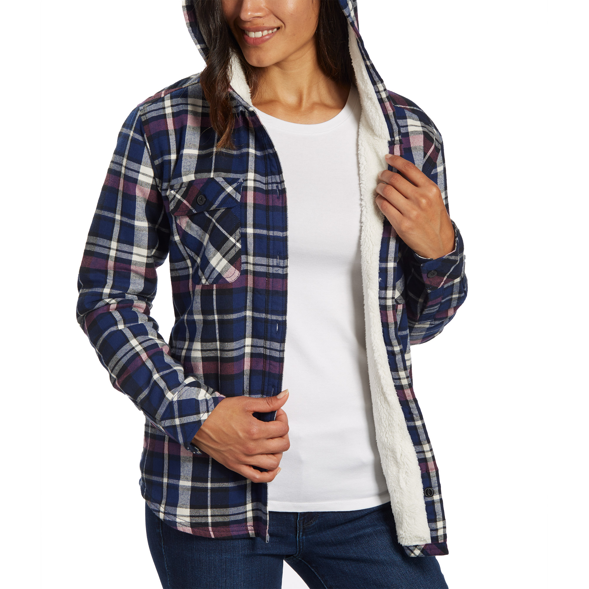 5f354426adfb Boston-Trader-Ladies-039-Sherpa-Lined-Hooded-Flannel vista