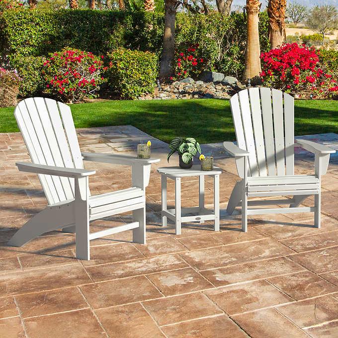 Amazing Portside 3 Piece Shellback Adirondack Set Theyellowbook Wood Chair Design Ideas Theyellowbookinfo