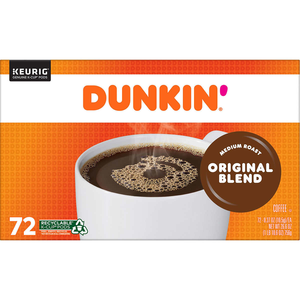 07e84524477 Dunkin' Donuts, Original Blend, Medium Roast, K-Cup Pods, 72ct