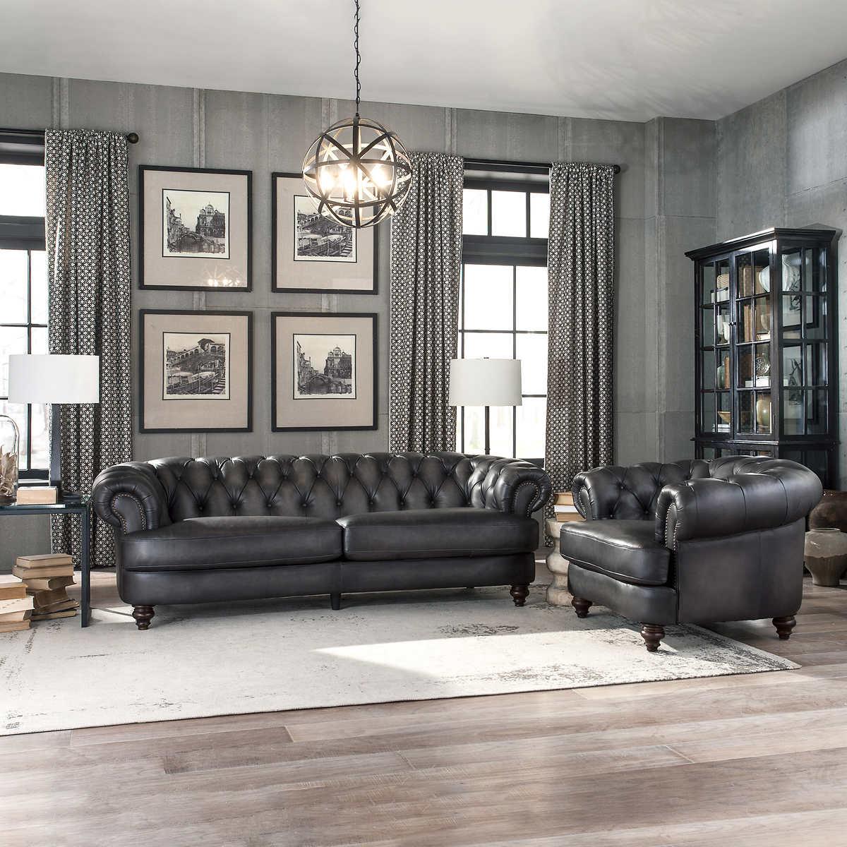 Glenbrook 2-piece Top Grain Leather Set - Sofa, Chair