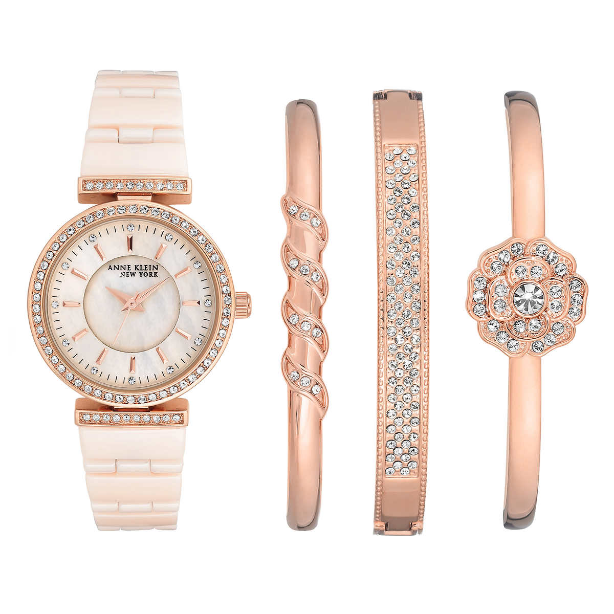 Anne klein new york rose gold tone ceramic watch and bangle set ebay for Anne klein rose gold watch set
