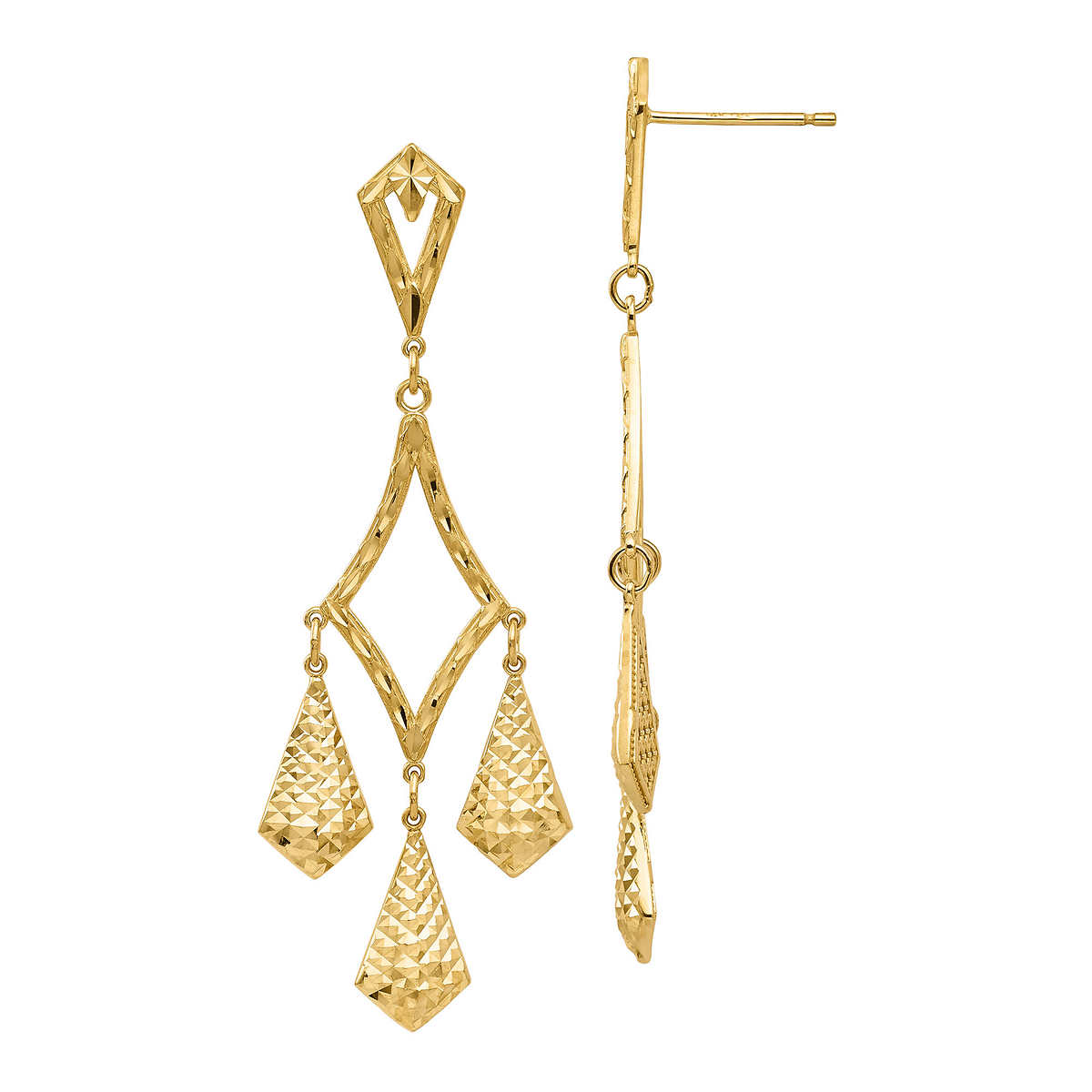 14kt yellow gold diamond cut chandelier earrings 14kt yellow gold diamond cut chandelier earrings item 1197093 click to zoom arubaitofo Gallery