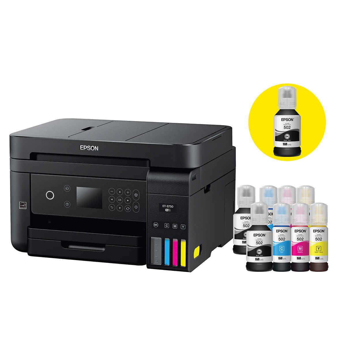 Epson WorkForce EcoTank 3750 Special Edition All-in-One Printer With Bonus  Black Ink