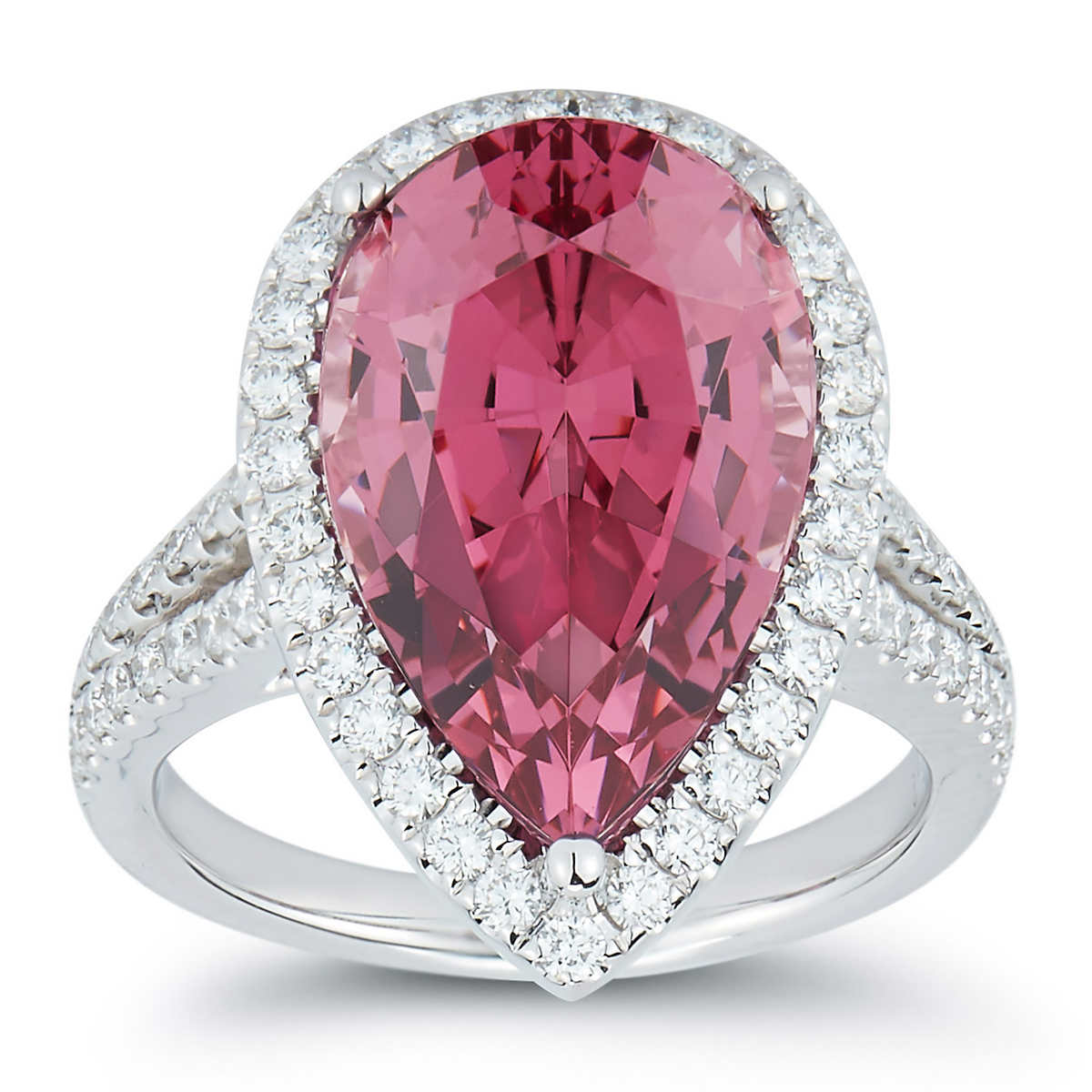 Pear Shape Rhodolite Garnet & Diamond 18kt White Gold Ring
