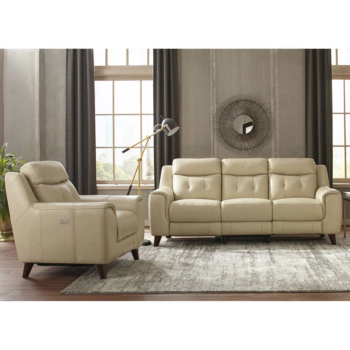 Campania 2-piece Top Grain Leather Power Reclining Set with Power Headrests  - Sofa, Recliner