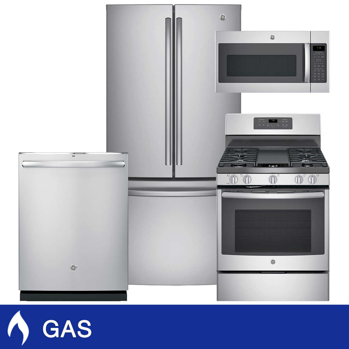 GE 4-piece GAS 24.8CuFt French Door Kitchen Package in Stainless Steel