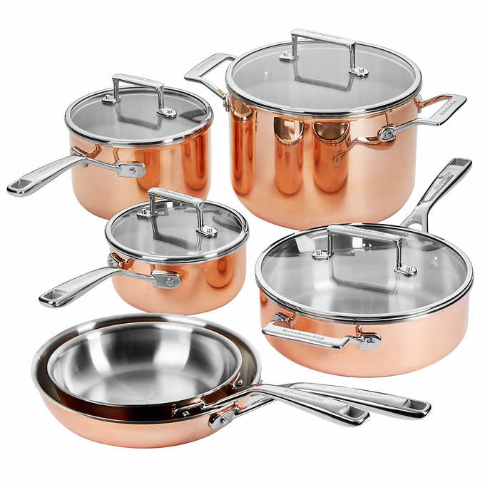 Details about KitchenAid Try-Ply Copper Stainless Steel Aluminum Cookware  10 Piece Set Pot Pan