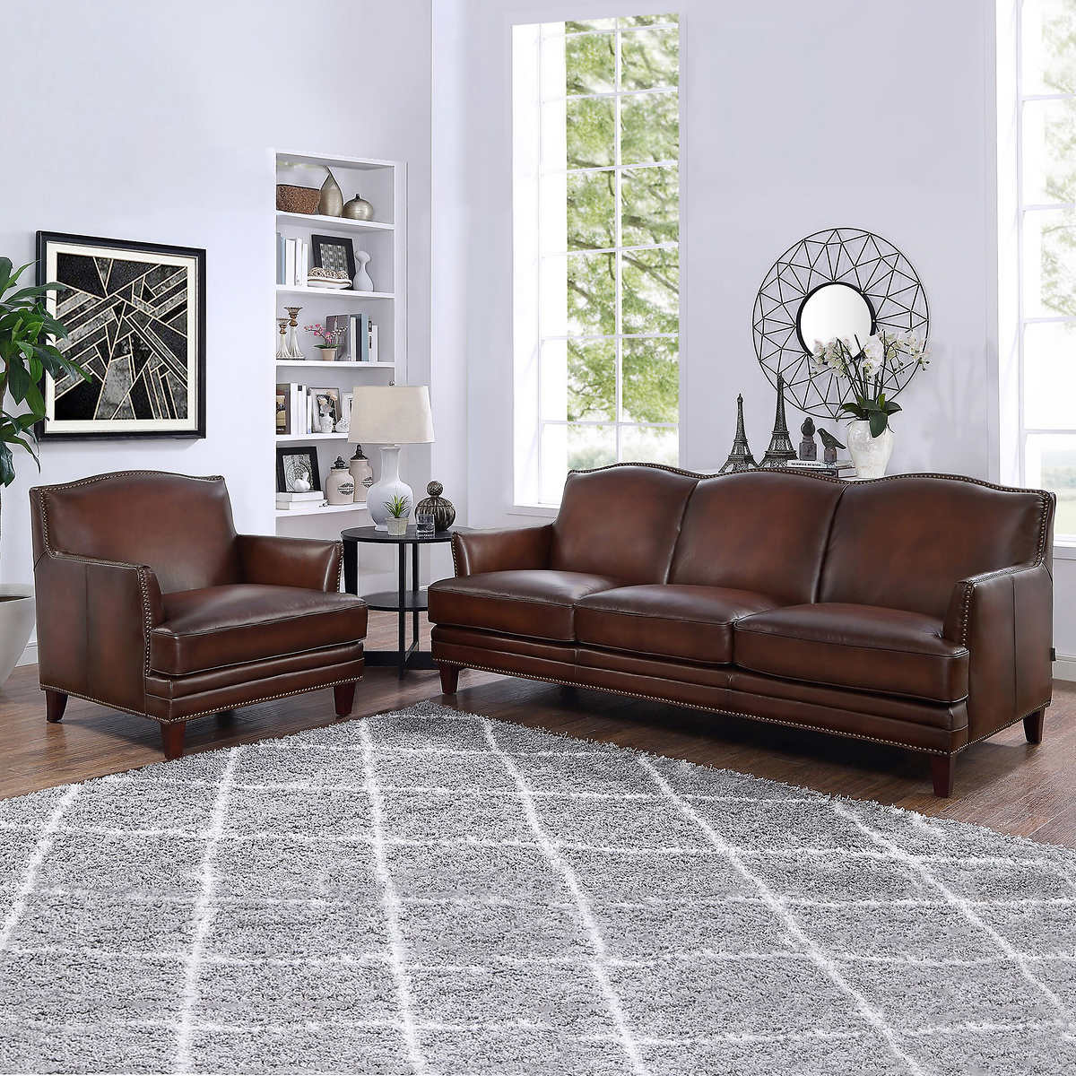 Caterina 2-piece Top Grain Leather Set - Sofa, Chair
