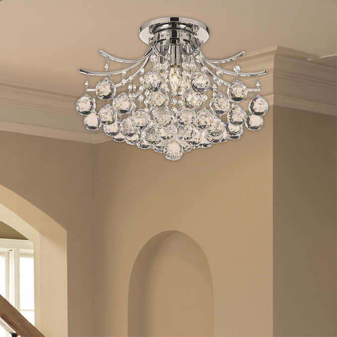 Lighting by pecaso contour flush mount chrome chandelier mozeypictures Image collections