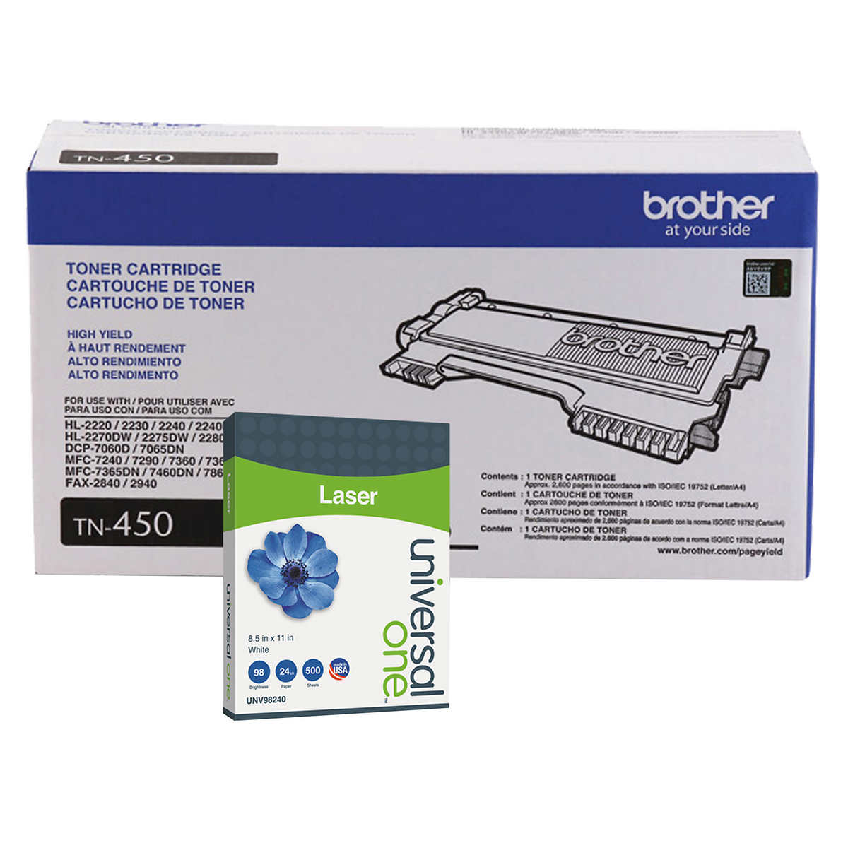 Brother TN450 High-Yield Toner, Black, 2-pack
