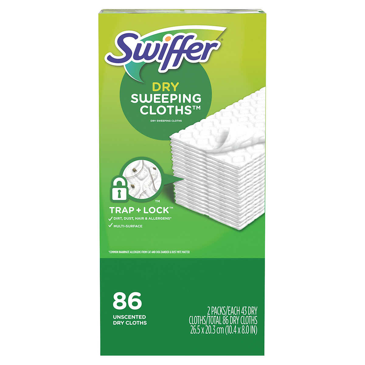 Swiffer Sweeper Dry Sweeping Cloth Refills, 43-count, 2-pack