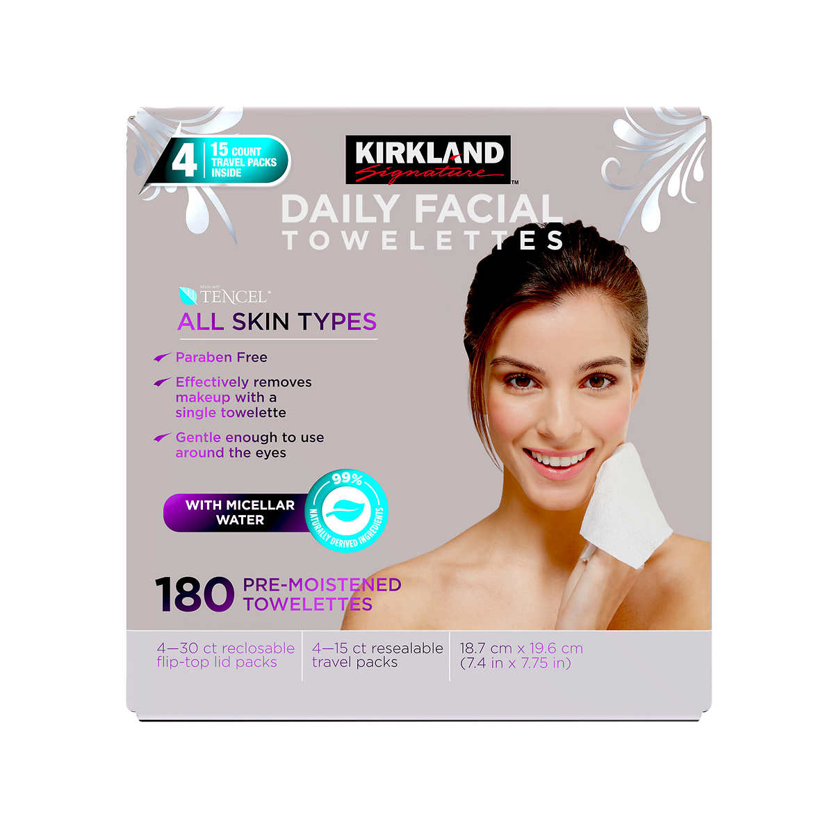 Kirkland Signature Micellar Daily Facial Cleansing Towelettes 180 Count